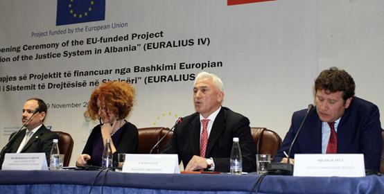 State President Nishani, EU Ambassador Vlahutin, Minister of Justice Naço and Deputy-Minister of Justice Peçi