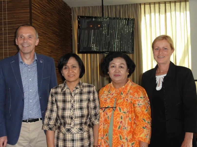 Tonnie Hulman (SSR Director), Siti Nurjanah (Head of JTC), Sumarni (JTC Secretary), and Anne Tahapary (Senior Course Manager SSR) after the discussion